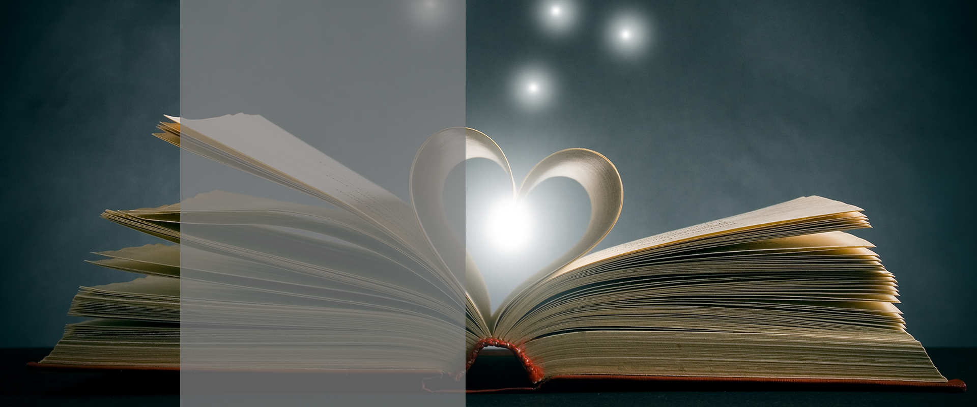 Book with heart in pages